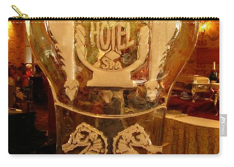 Ice Sculpture Art Carry-all Pouch featuring the photograph Ice Sculpture At Ellyngtons Sunday Brunch by John Malone