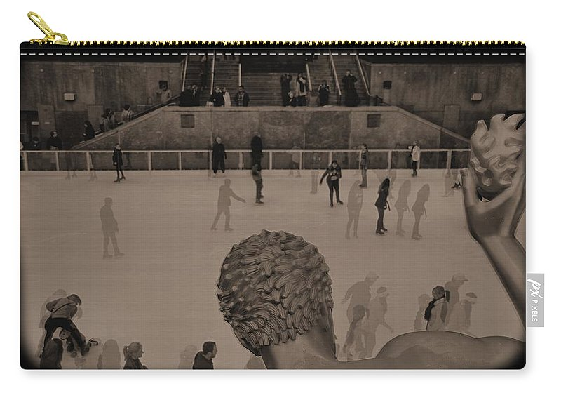 Ice Skating At Rockefeller Center In The Early Days Carry-all Pouch featuring the photograph Ice Skating At Rockefeller Center In The Early Days by Dan Sproul