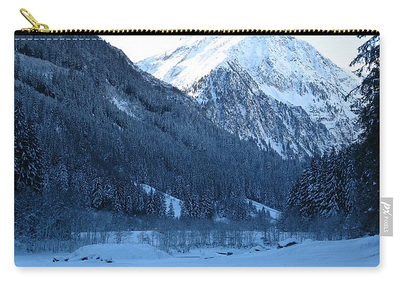 Snow Carry-all Pouch featuring the photograph Iceblue Snow by Christiane Schulze Art And Photography