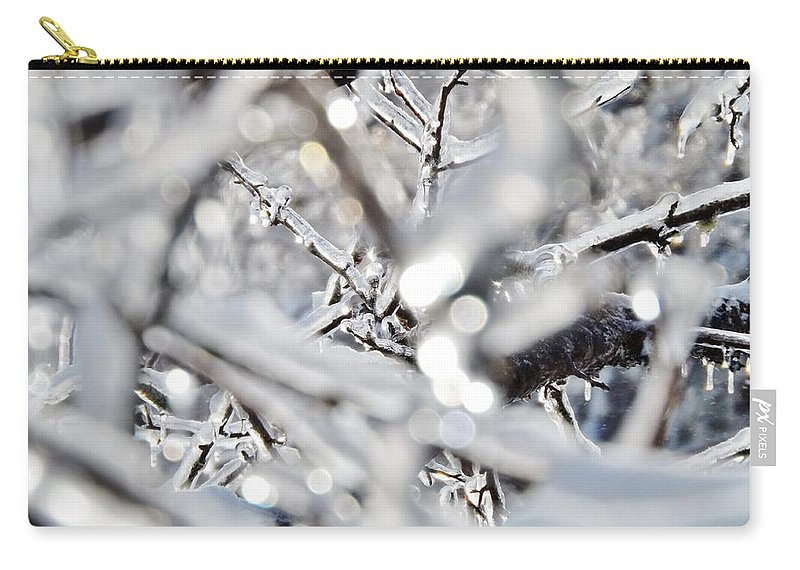 Macro Carry-all Pouch featuring the photograph Iced Branches by Samuel Forestell Photography