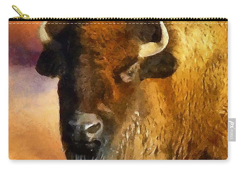 Buffalo Carry-all Pouch featuring the painting Icon Of The Plains by RC DeWinter