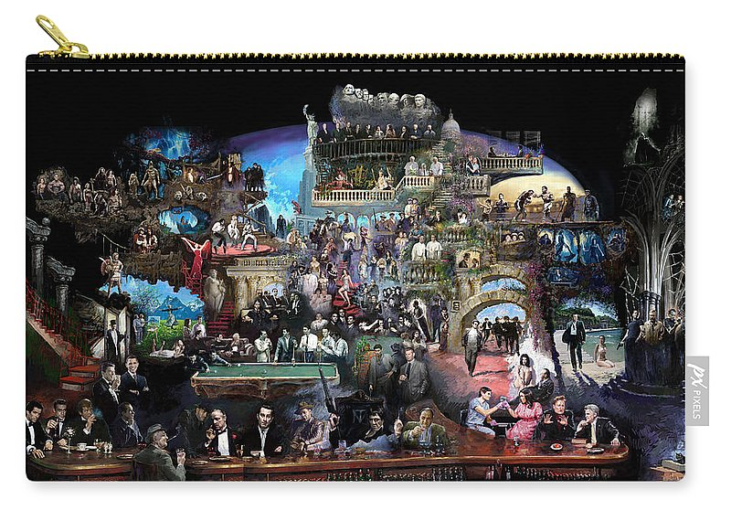 Icones Of History And Entertainment Carry-all Pouch featuring the mixed media Icons Of History And Entertainment by Ylli Haruni