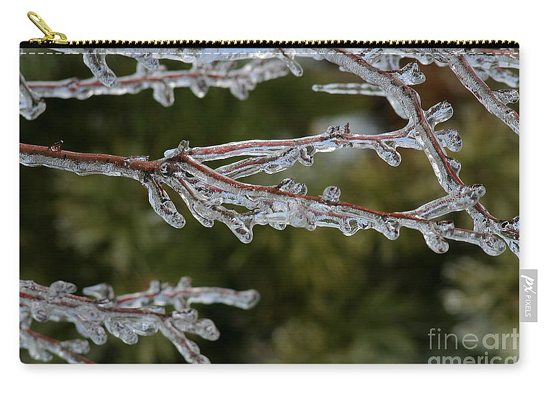 Ice Carry-all Pouch featuring the photograph Icy Branch-7482 by Gary Gingrich Galleries