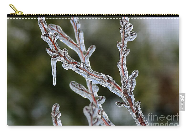 Ice Carry-all Pouch featuring the photograph Icy Branch-7485 by Gary Gingrich Galleries