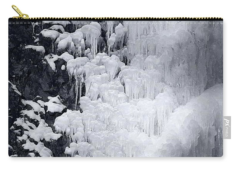 Ice Carry-all Pouch featuring the photograph Icy Cliff - Black And White by Carol Groenen
