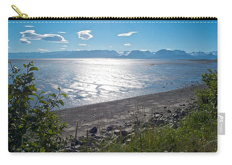 Icy-looking Kachemak Bay In Sunlight From Homer Spit Carry-all Pouch featuring the photograph Icy-looking Kachemak Bay In Sunlight From Homer Spit-ak by Ruth Hager