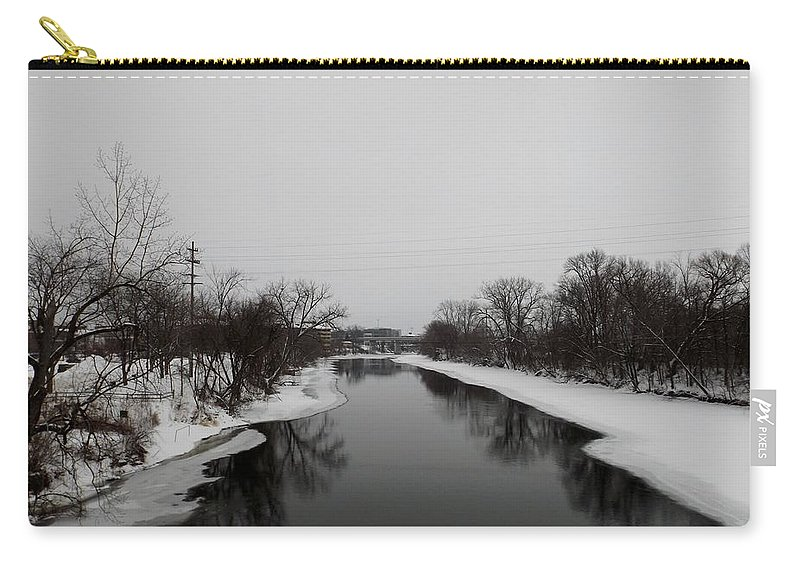 Midland Mi Carry-all Pouch featuring the photograph Icy River by Linda Kerkau