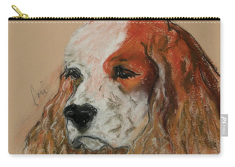 Dog Carry-all Pouch featuring the pastel Idle Thoughts by Cori Solomon