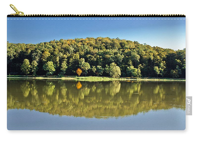 Lake Carry-all Pouch featuring the photograph Idyllic Autumn Reflections On Lake Surface by Brch Photography