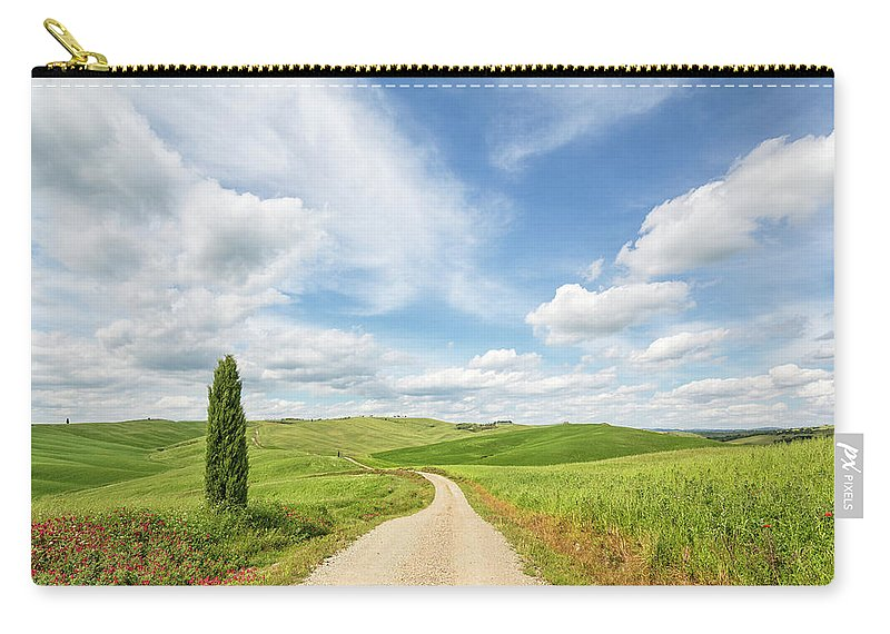 Scenics Carry-all Pouch featuring the photograph Idyllic Dirt Road With Cypress In Val by Romaoslo