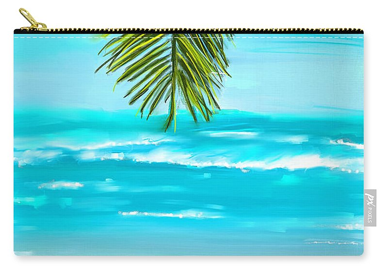 Seascapes Abstract Carry-all Pouch featuring the painting Idyllic Place by Lourry Legarde