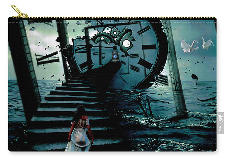 If I Could Go Back In Time; Time; Surrealism Art; Surrealism; Surreal; Fine Art; Fine Art Print; Fine Art America; Original Painting; Oil On Canvas; Digital Art; Modern Art; Contemporary Art; Fli; Fantasy Art; Seascape Art; Clocks; Water; Sky; Clouds; Woman; Girl;birds Carry-all Pouch featuring the painting If I Could Go Back In Time by Fli Art
