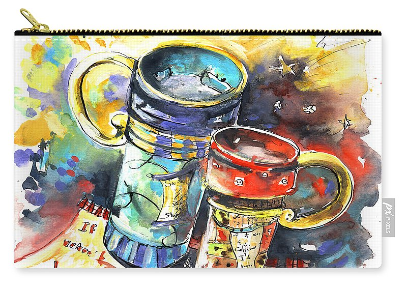 Cafe Crem Carry-all Pouch featuring the painting If It Were Not For Caffeine by Miki De Goodaboom