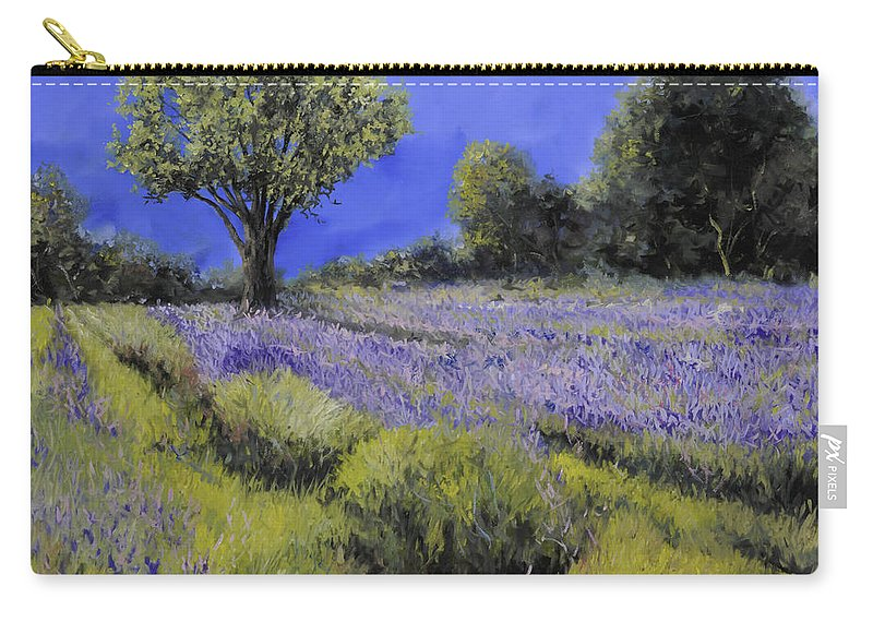 Lavender Carry-all Pouch featuring the painting Il Campo Di Lavanda by Guido Borelli