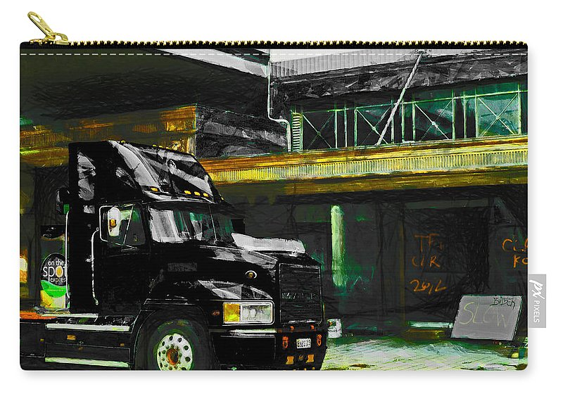 Black Carry-all Pouch featuring the photograph I'll Be Wearing A Black Mack by Steve Taylor