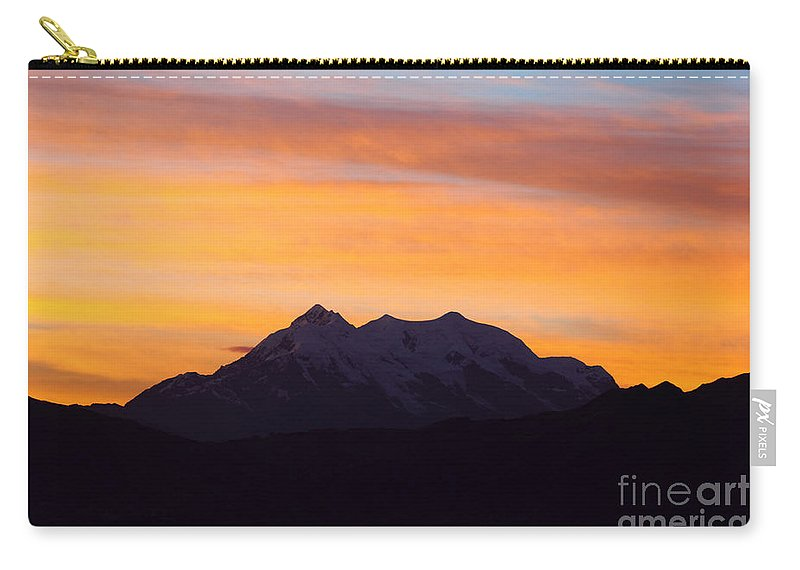 Bolivia Carry-all Pouch featuring the photograph Illimani Sunrise by James Brunker