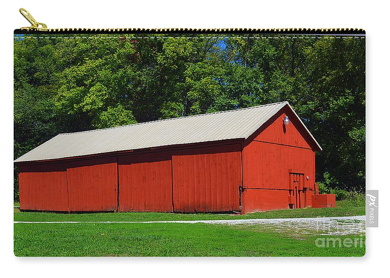 Illinois Red Barn Carry-all Pouch featuring the photograph Illinois Red Barn by Luther Fine Art