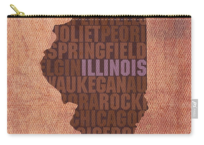 Illinois State Word Art On Canvas Carry-all Pouch featuring the mixed media Illinois State Word Art on Canvas by Design Turnpike