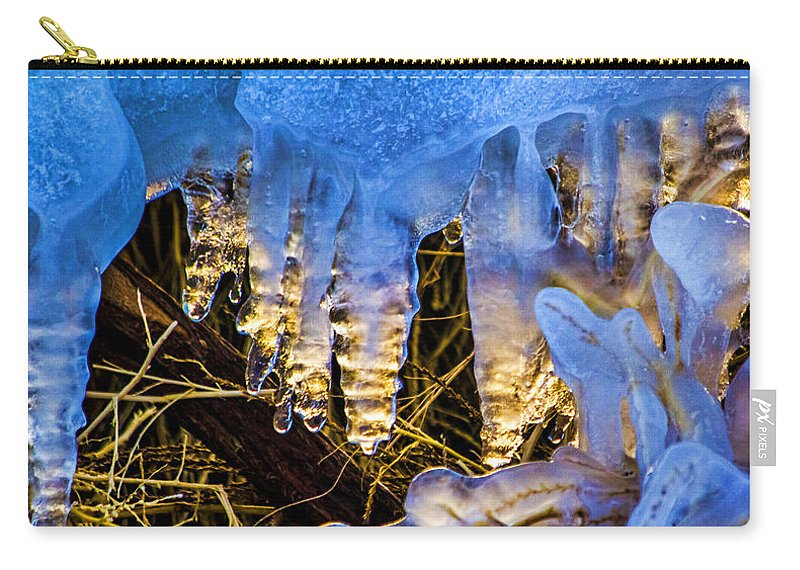 Bill Kesler Photography Carry-all Pouch featuring the photograph Illuminated Icicles At Sunset by Bill Kesler
