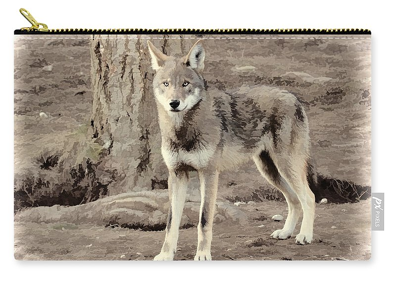 Wolves Carry-all Pouch featuring the photograph Illusion Of A Wolf by Athena Mckinzie