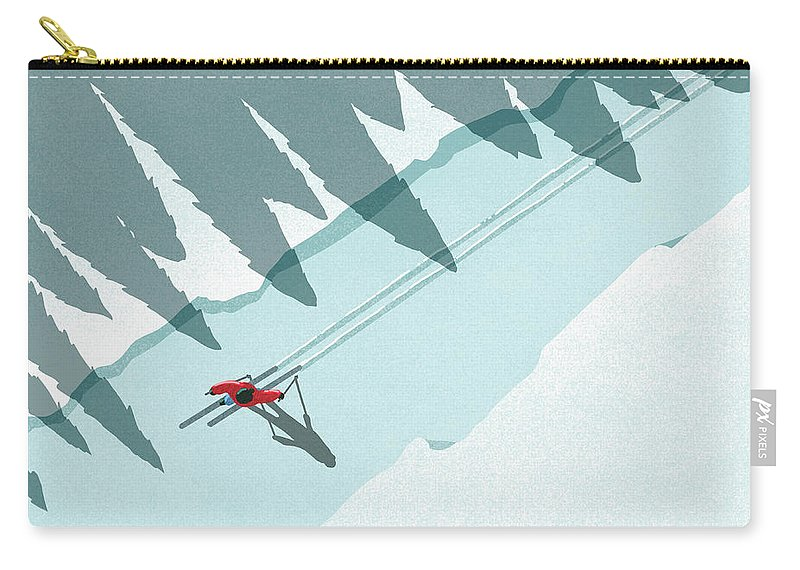 Ski Pole Carry-all Pouch featuring the digital art Illustration Of Man Skiing During by Malte Mueller