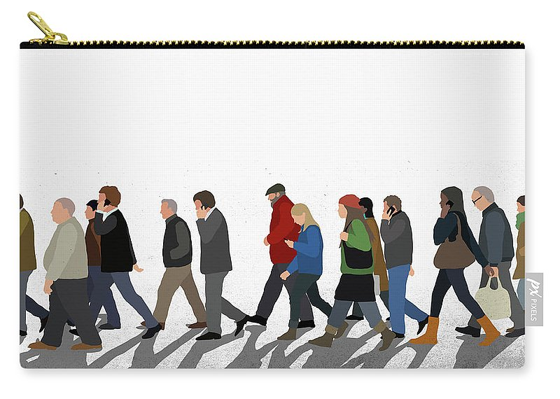 Shadow Carry-all Pouch featuring the digital art Illustration Of People Walking On by Malte Mueller