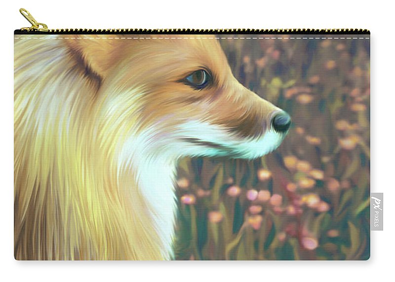 Grass Carry-all Pouch featuring the digital art Illustration Of Red Fox by Illustration By Shannon Posedenti