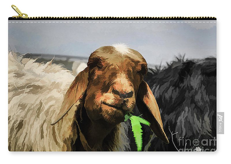 Brown Carry-all Pouch featuring the photograph Illustration Of Sheep by Dan Yeger