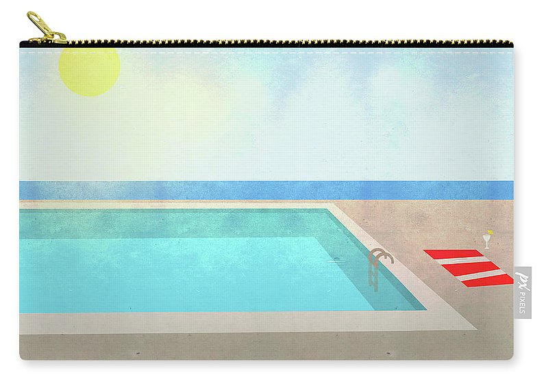 Swimming Pool Carry-all Pouch featuring the digital art Illustration Of Swimming Pool On Sunny by Malte Mueller