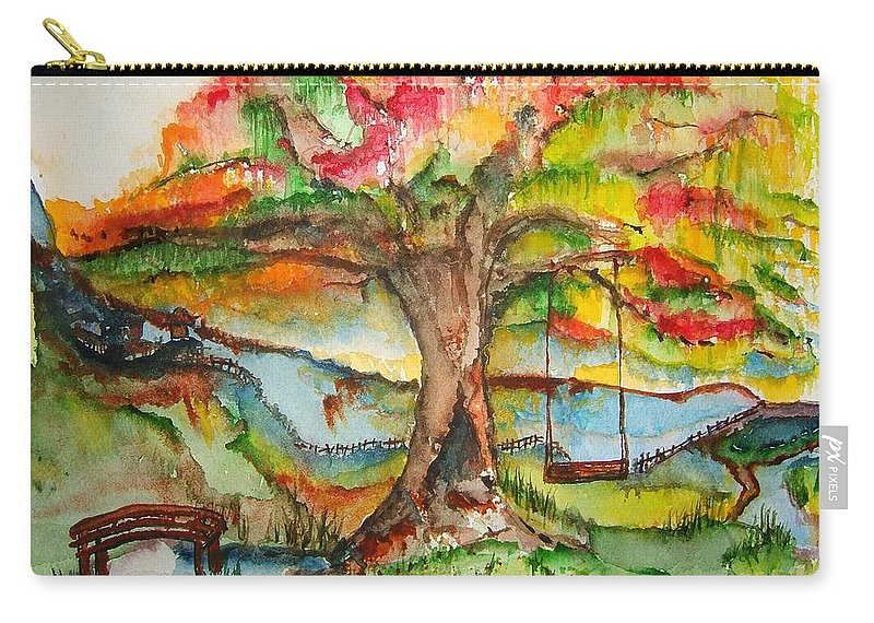 Fantasy Carry-all Pouch featuring the painting Imagination Place by Elaine Duras