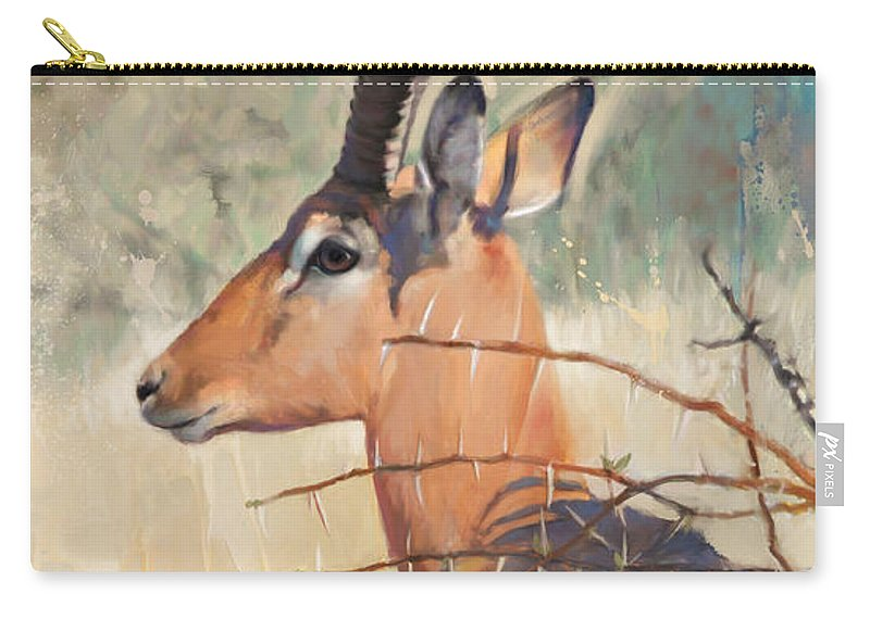 Impala Art Carry-all Pouch featuring the painting Impala by Rob Corsetti