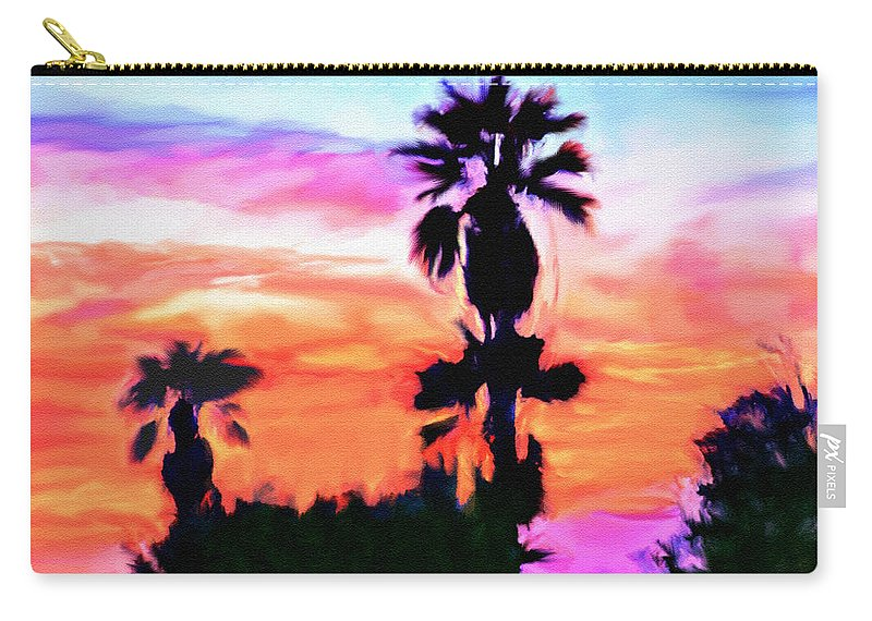 Abstract Carry-all Pouch featuring the digital art Impression Desert Sunset V2 by Bob and Nadine Johnston
