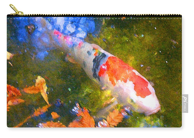 Fish Carry-all Pouch featuring the painting Impressionism Koi 2 by Amy Vangsgard