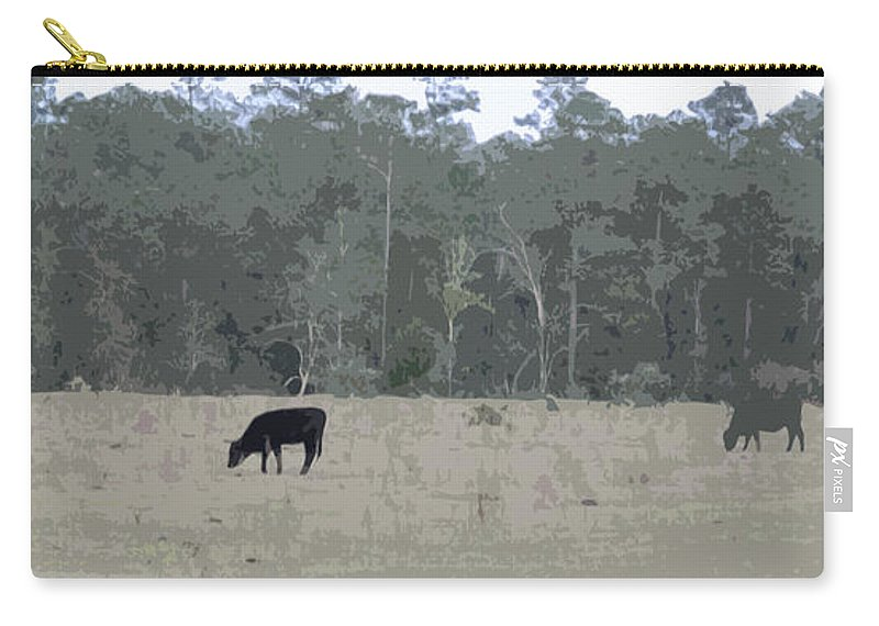 Cow Carry-all Pouch featuring the photograph Impressionist Cows Grazing by George Pedro