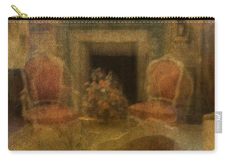 Living Room; Sitting Room; Formal; Chair; Victorian; Fireplace; Seating; Rug; Interior; Mantle; Ornate; Armchair; Curtains; Drapes; Blurred; Blurry; Defocused; Indoors; Room; Classic; Furniture; Nobody; Empty; Antiques Carry-all Pouch featuring the photograph Impressions Of A Good Life by Margie Hurwich