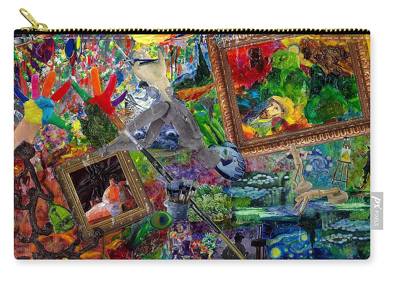 Mixed Media Carry-all Pouch featuring the mixed media Impressions by Paula Emery