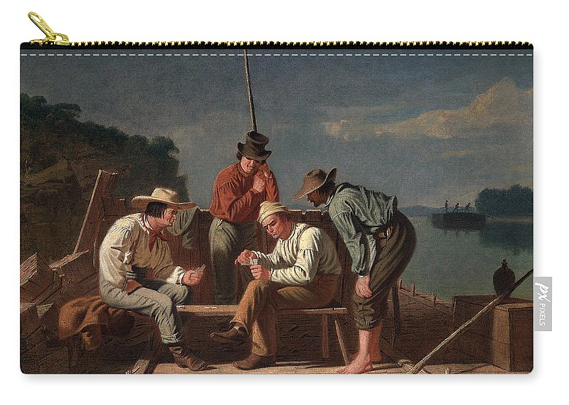 River Carry-all Pouch featuring the painting In A Quandary, Or Mississippi Raftsmen by George Caleb Bingham