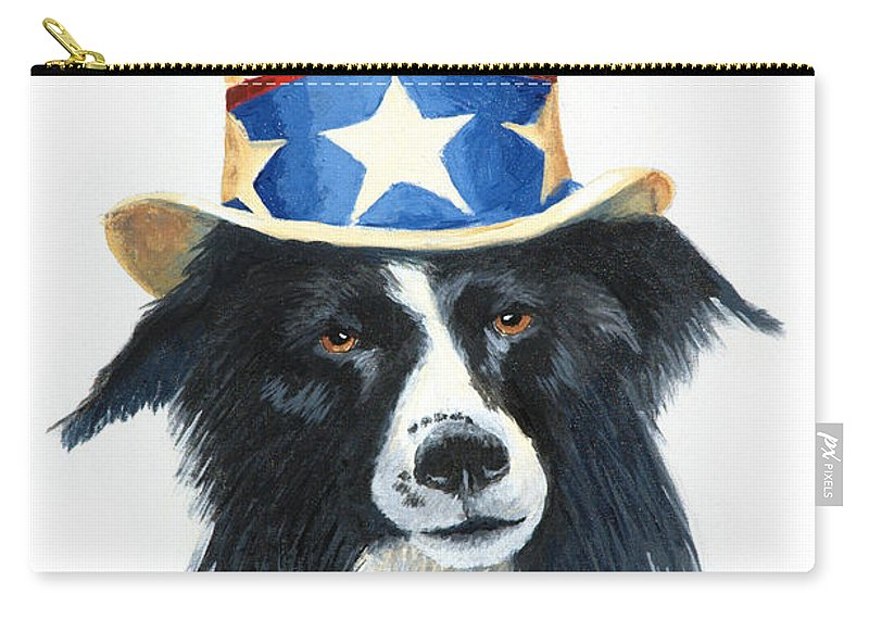 Dog Carry-all Pouch featuring the painting In Dog We Trust by Jerry McElroy