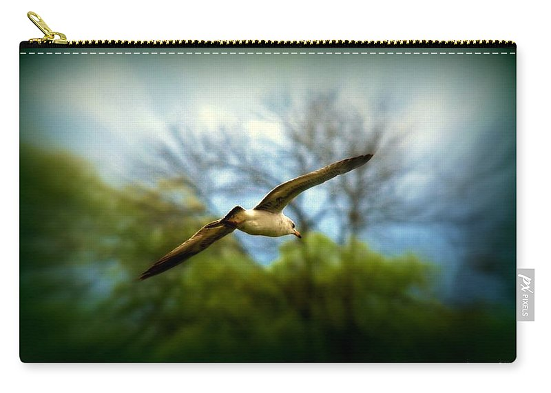 Sea Gall Carry-all Pouch featuring the photograph In Flight by Scott Polley