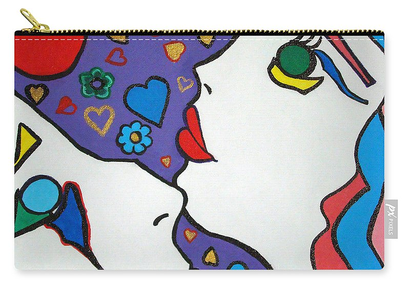 Pop-art Carry-all Pouch featuring the painting In Love by Silvana Abel