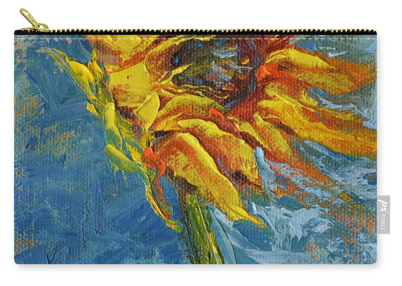 Sunflower Yellow Blue Green Blowing Wind Sky Nature Garden Flower Seed Air Carry-all Pouch featuring the painting In Motion by Patricia Caldwell