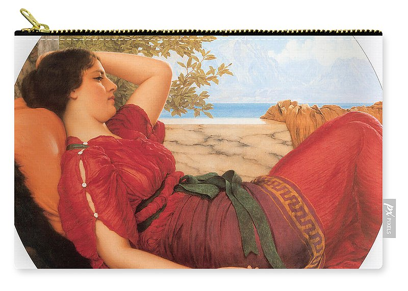 John William Godward Carry-all Pouch featuring the digital art In Realms Of Fancy by John William Godward