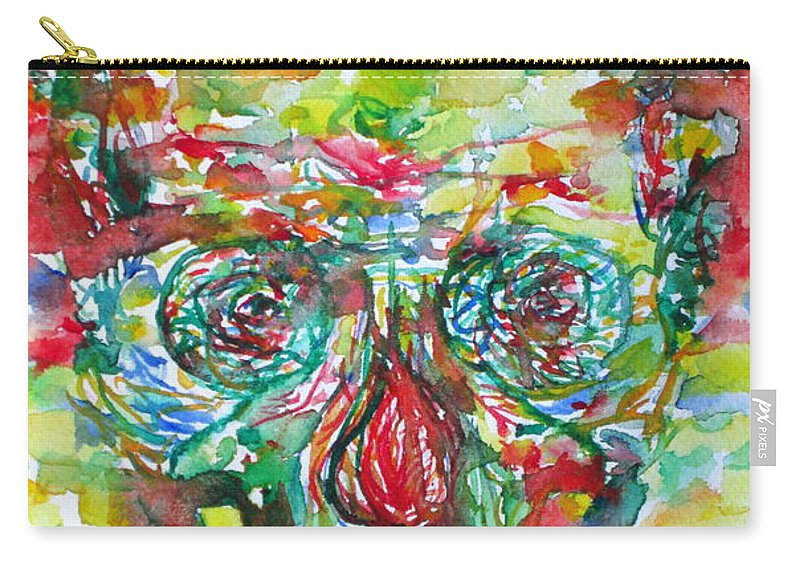 Skull Carry-all Pouch featuring the painting In Silence The Inaudible Voices Spoke by Fabrizio Cassetta