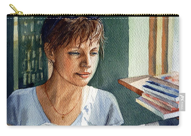 Woman Carry-all Pouch featuring the painting In The Book Store by Irina Sztukowski
