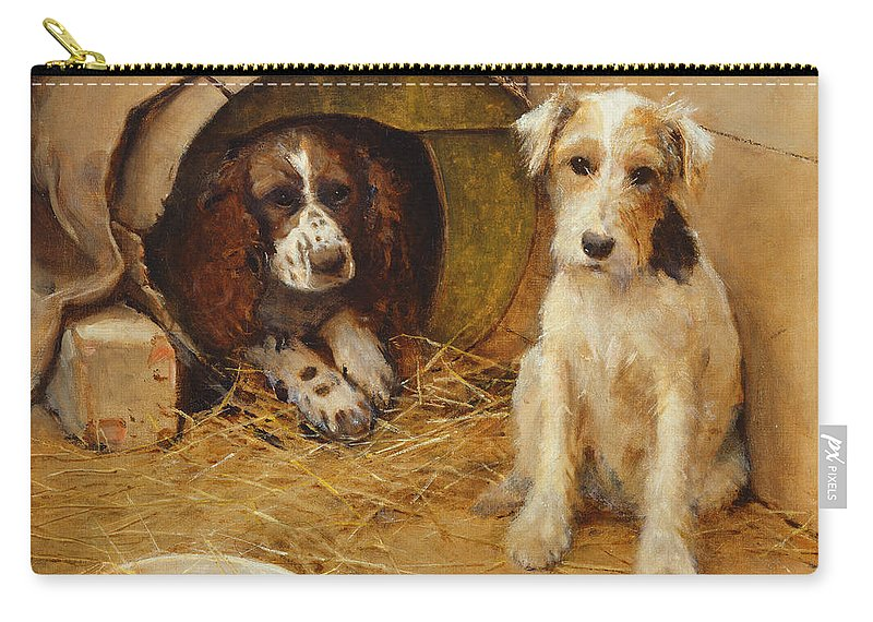 Dog Carry-all Pouch featuring the painting In The Dog House by Samuel Fulton