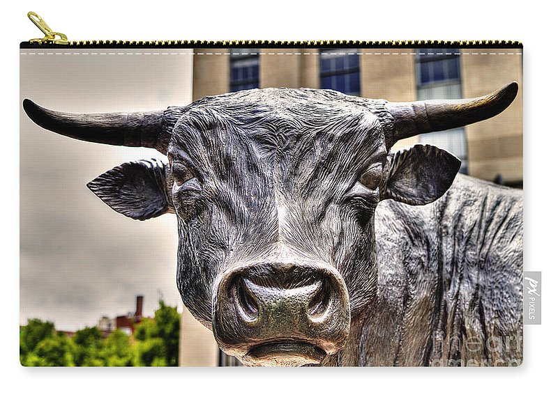 Durham Nc Carry-all Pouch featuring the photograph In The Eyes Of The Bull by Emily Kay
