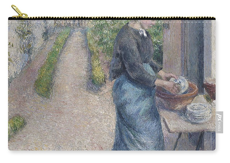 Washing Up Carry-all Pouch featuring the painting In The Garden At Pontoise A Young Woman by Camille Pissarro