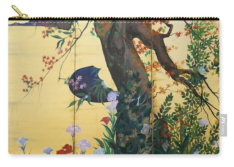 Flowers Paintings Carry-all Pouch featuring the painting In The Garden by Sorin Apostolescu