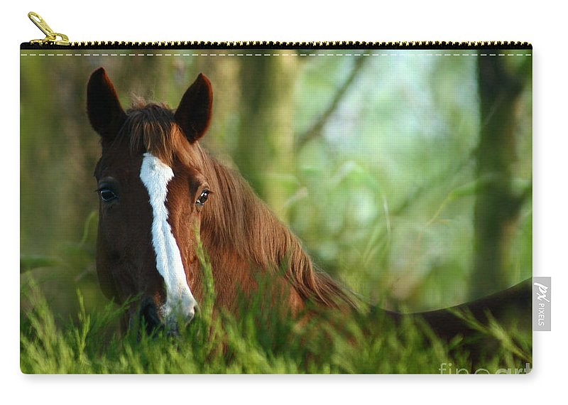Horse Carry-all Pouch featuring the photograph In The Green by Angel Ciesniarska