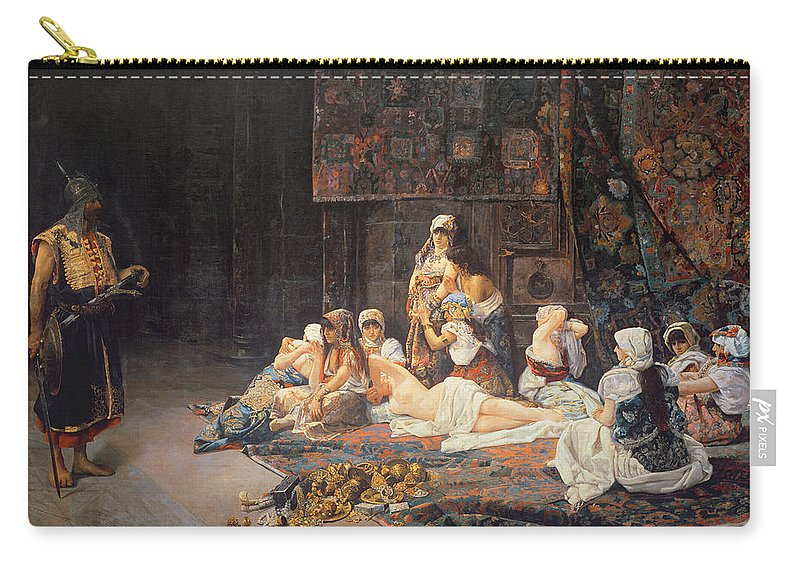 Au Serail Carry-all Pouch featuring the painting In The Harem by Jose Gallegos Arnosa